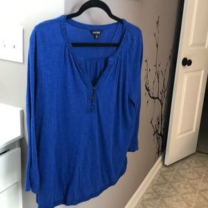 Lucky brand royal blue peasant top